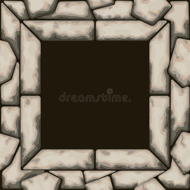 Struttura di rettangolo con il modello senza cuciture di pietra illustrazione di stock