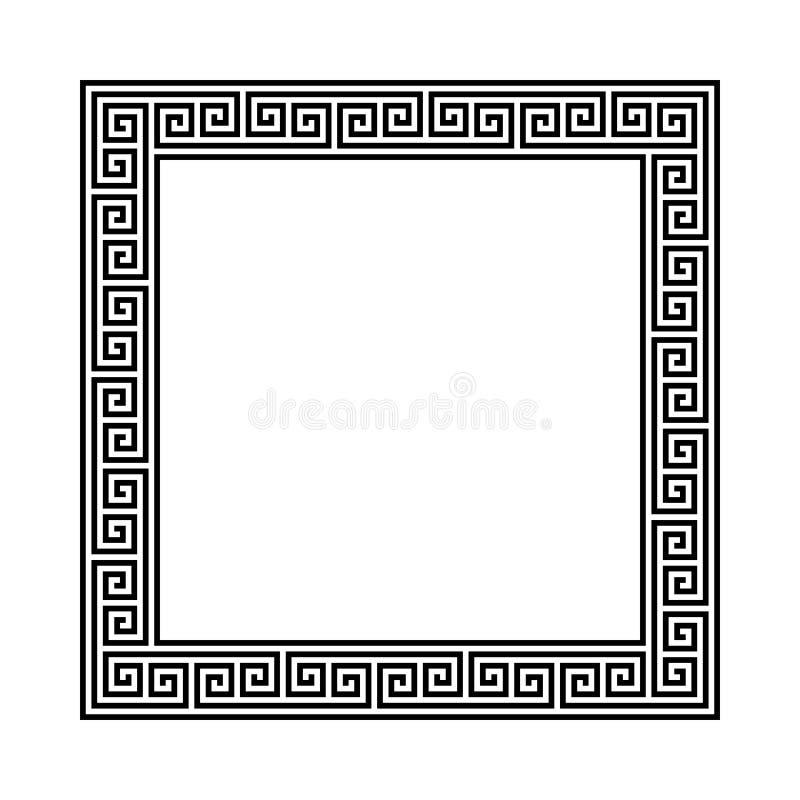 Struttura di rettangolo con il modello senza cuciture di meandro Motivo ripetuto cerchio greco Chiave greca confine decorativo di illustrazione vettoriale