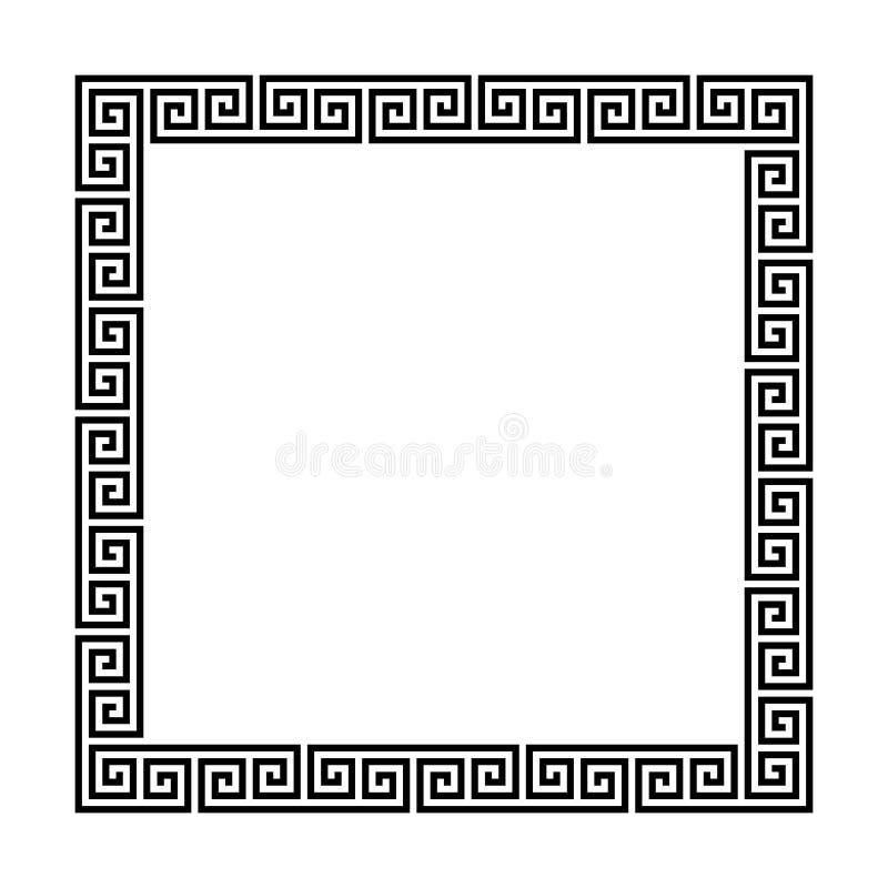 Struttura di rettangolo con il modello senza cuciture di meandro Motivo ripetuto cerchio greco Chiave greca confine decorativo di royalty illustrazione gratis