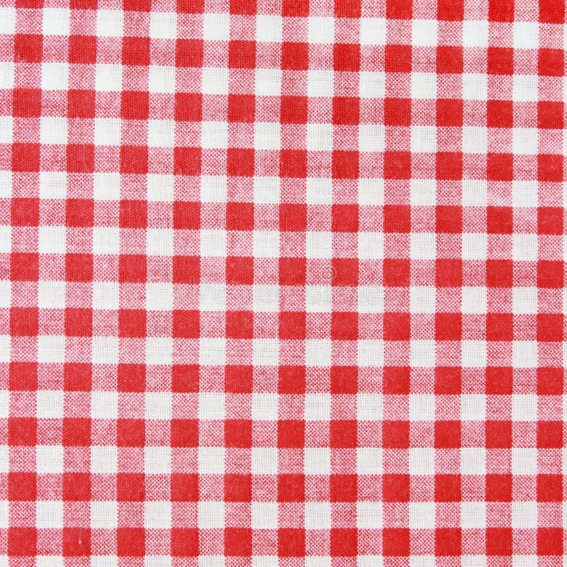 Struttura di una coperta a quadretti rossa e bianca di picnic. fotografia stock