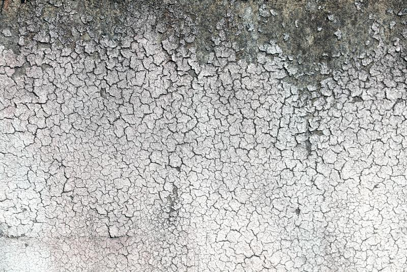 Struttura di vecchia parete con lo stucco incrinato di colore bianco immagine stock