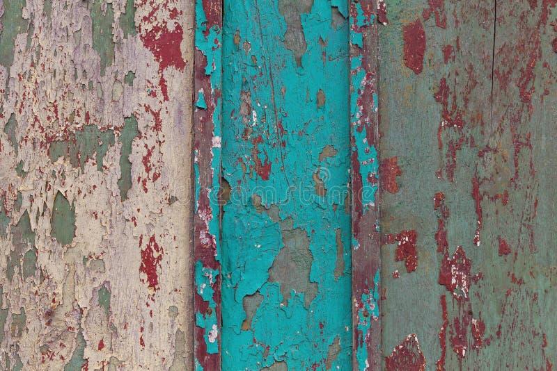 Struttura di vecchia parete di legno blu e bianca con pittura incrinata immagine stock