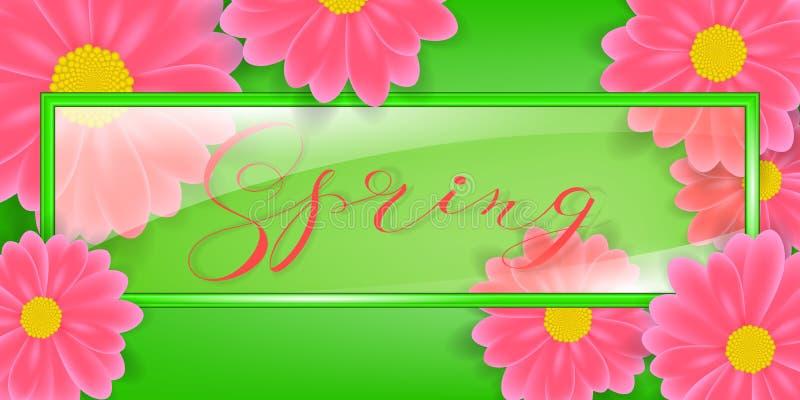 Struttura di vetro, illustrazione di vettore con la parola della primavera dell'iscrizione Nel fondo fiorisce la margherita o il  illustrazione vettoriale