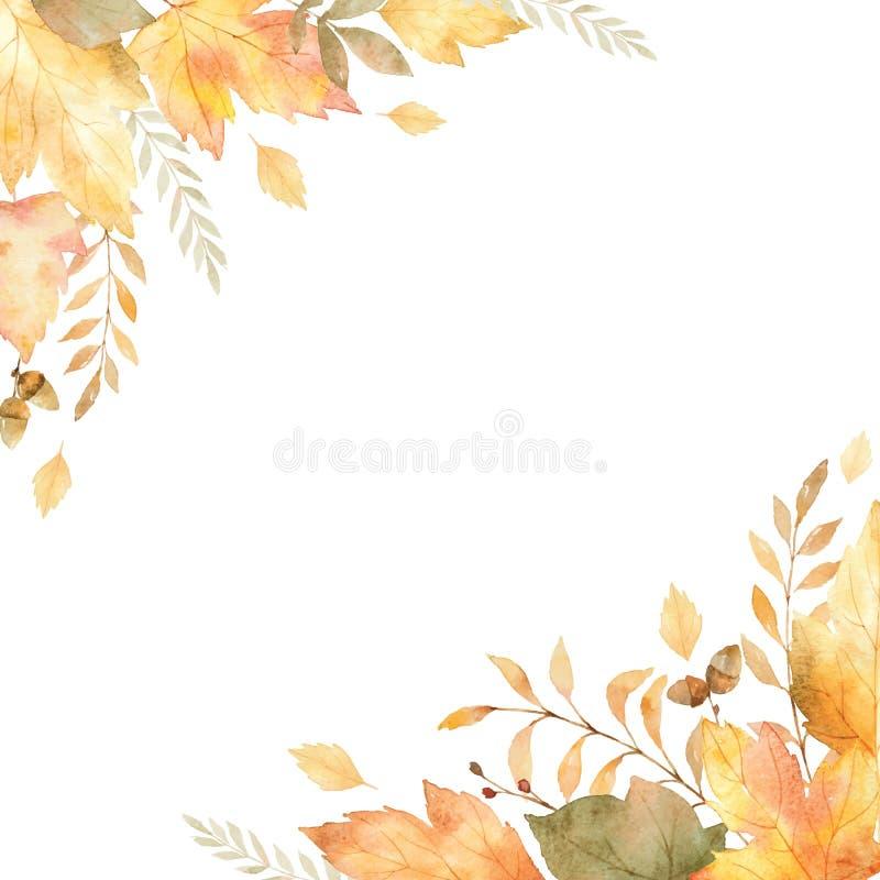 Struttura di vettore dell'acquerello delle foglie e dei rami isolati su fondo bianco illustrazione di stock
