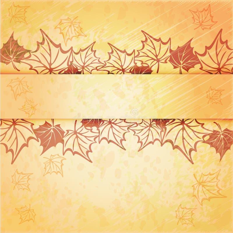 Struttura di vettore della foglia di acero di autunno con lo spazio della copia sopra royalty illustrazione gratis