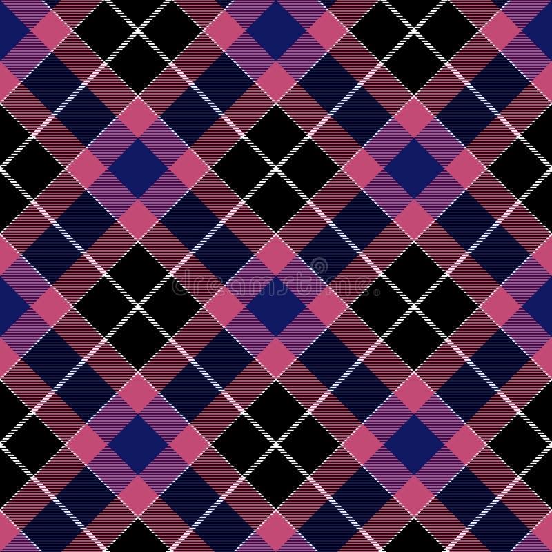 Struttura diagonale senza cuciture del tessuto del plaid blu rosa del controllo illustrazione di stock