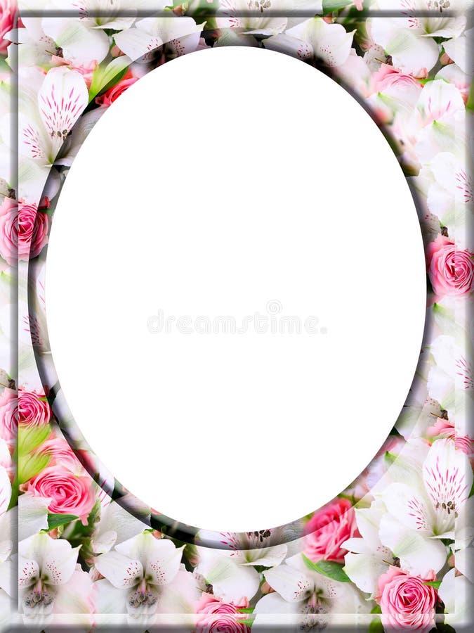 Struttura digitale decorativa per le vostre foto in 4: formato 3 con il bello fondo dei fiori royalty illustrazione gratis