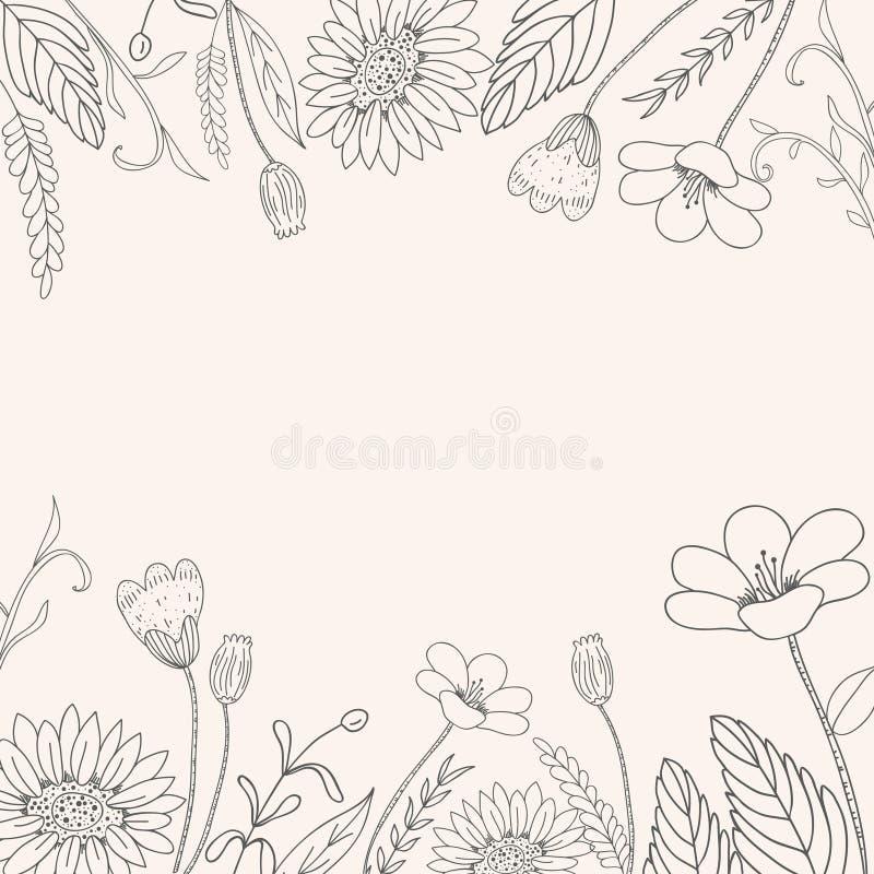 Struttura disegnata a mano del fiore illustrazione vettoriale