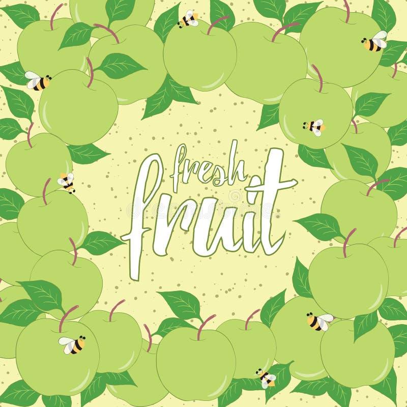 Struttura disegnata a mano rotonda per la carta della frutta fresca Fondo con le mele verdi Posto per testo illustrazione vettoriale