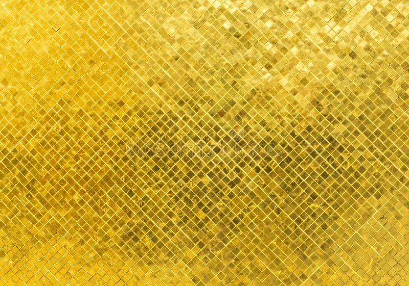Struttura dorata brillante di lusso del fondo del mosaico di Tone Rectangle Tile Glass Pattern immagini stock libere da diritti