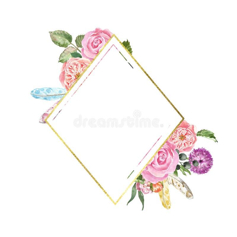 Struttura dorata con i fiori e le foglie dell'acquerello Insegna elegante di stile di boho d'annata con le rose rosa, piume, fogl illustrazione di stock