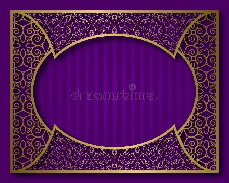 Struttura dorata d'annata nello stile orientale Certificato, targhetta o modello del fondo della cartolina d'auguri illustrazione di stock