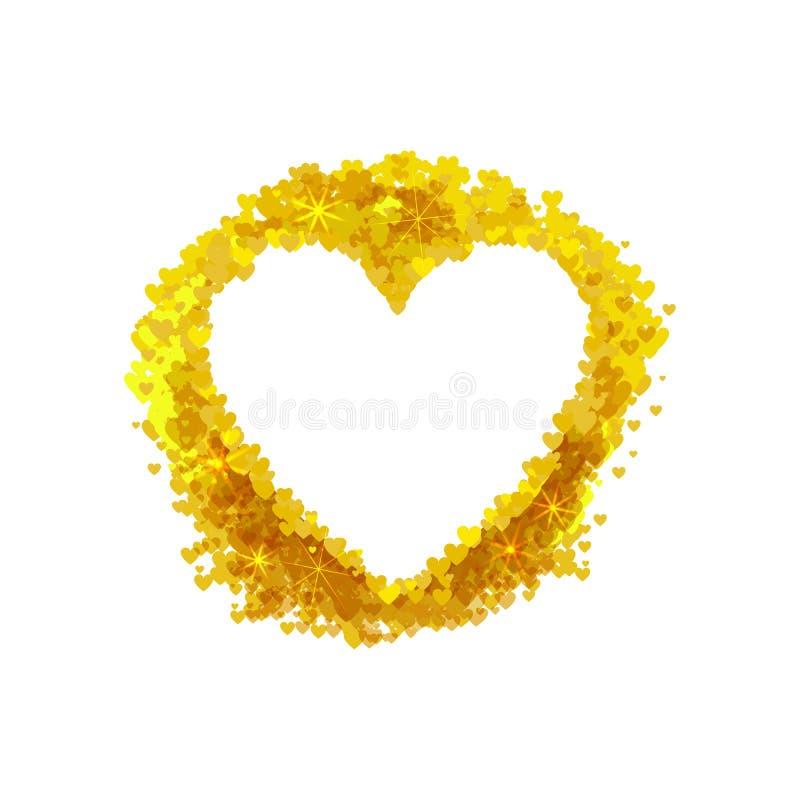 Struttura dorata del cuore di vettore, elementi decorativi di nozze isolati su fondo bianco royalty illustrazione gratis