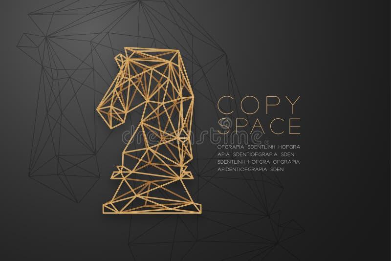 Struttura dorata della struttura del poligono del wireframe del cavaliere di scacchi, illustrazione di progettazione di massima d illustrazione di stock