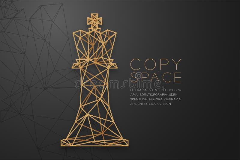 Struttura dorata della struttura del poligono del wireframe della regina di scacchi, illustrazione di progettazione di massima di illustrazione vettoriale