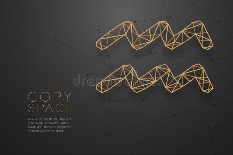 Struttura dorata della struttura del poligono del wireframe del segno dello zodiaco di acquario, illustrazione di progettazione d illustrazione vettoriale