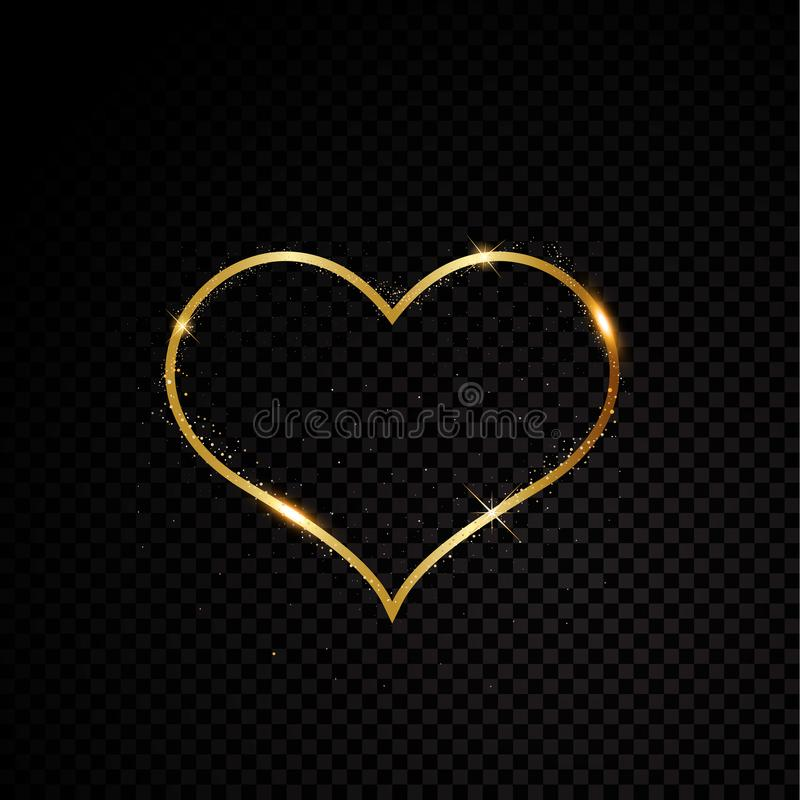 Struttura dorata della scintilla del cuore del biglietto di S. Valentino Isolato su fondo trasparente nero Illustrazione di vetto illustrazione di stock