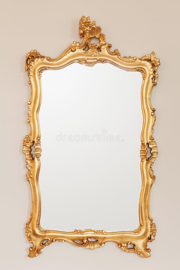 Struttura dorata dello specchio fotografia stock