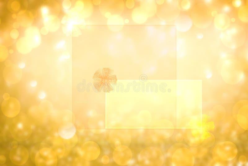 Struttura dorata festiva del fondo di scintillio dell'estratto con una struttura con l'arco del nastro sulle lettere trasparenti  fotografie stock