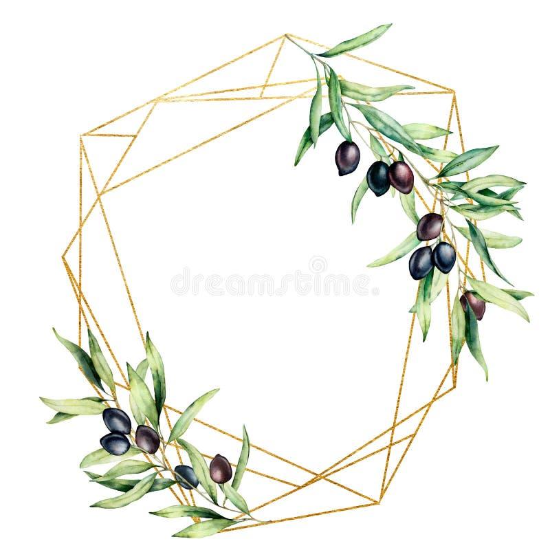 Struttura dorata poligonale dell'acquerello con il ramo di olivo, le olive nere e le foglie Etichetta floreale disegnata a mano i royalty illustrazione gratis