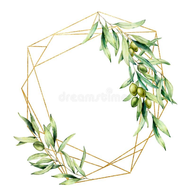Struttura dorata poligonale dell'acquerello con il ramo di olivo, le olive verdi e le foglie Etichetta floreale disegnata a mano  illustrazione vettoriale