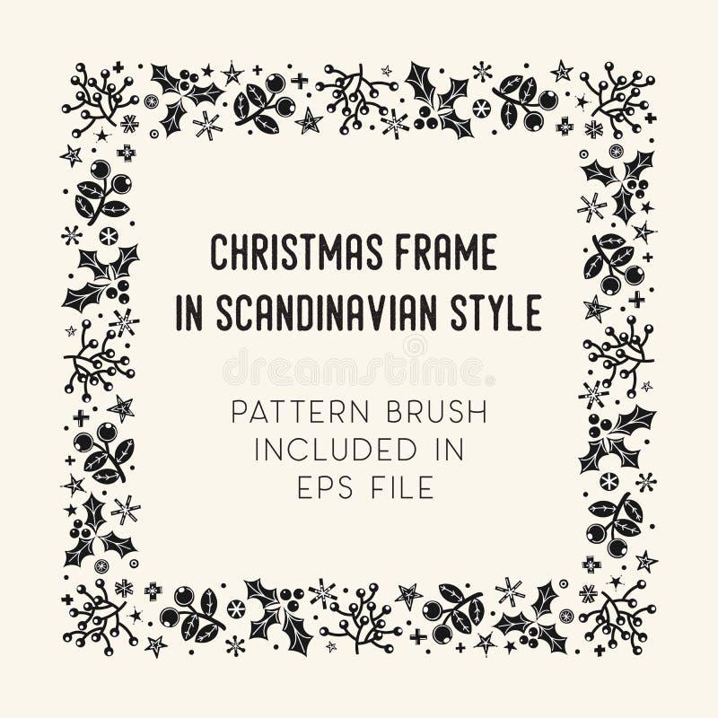 Struttura e spazzola di Natale con le mattonelle d'angolo royalty illustrazione gratis