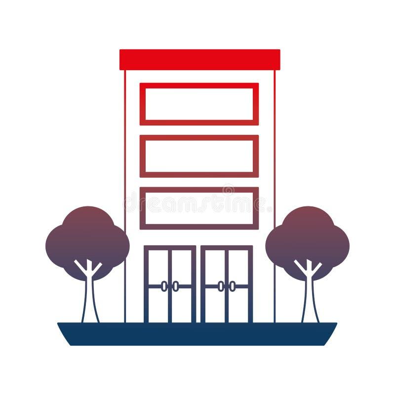 Struttura edile con l'icona isolata piante degli alberi illustrazione di stock