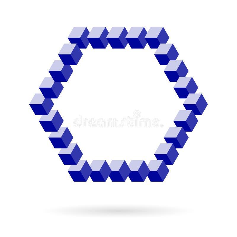 Struttura esagonale di vettore dei cubi isometrici sopra bianco illustrazione di stock