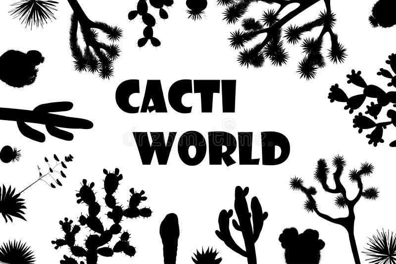 Struttura esotica del cactus del wildflower Saguaro, fico d'India ed insegna dell'albero di Joshua illustrazione vettoriale