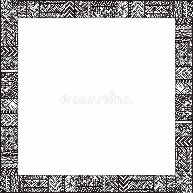 Struttura etnica per il vostro testo Spazio vuoto Illustr in bianco e nero illustrazione di stock