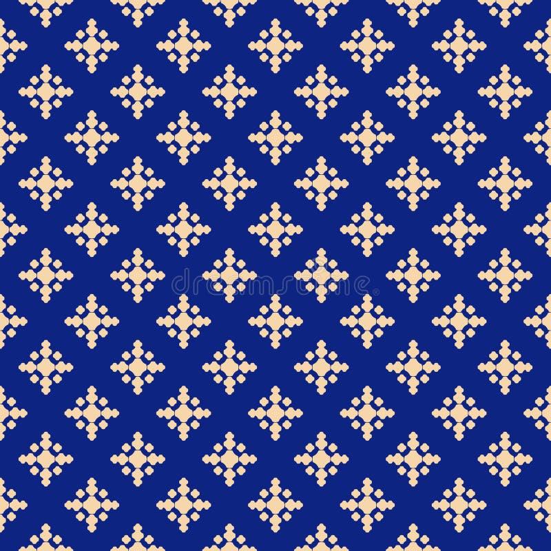 Struttura floreale astratta di lusso Modello senza cuciture geometrico profondo dell'oro e del blu royalty illustrazione gratis