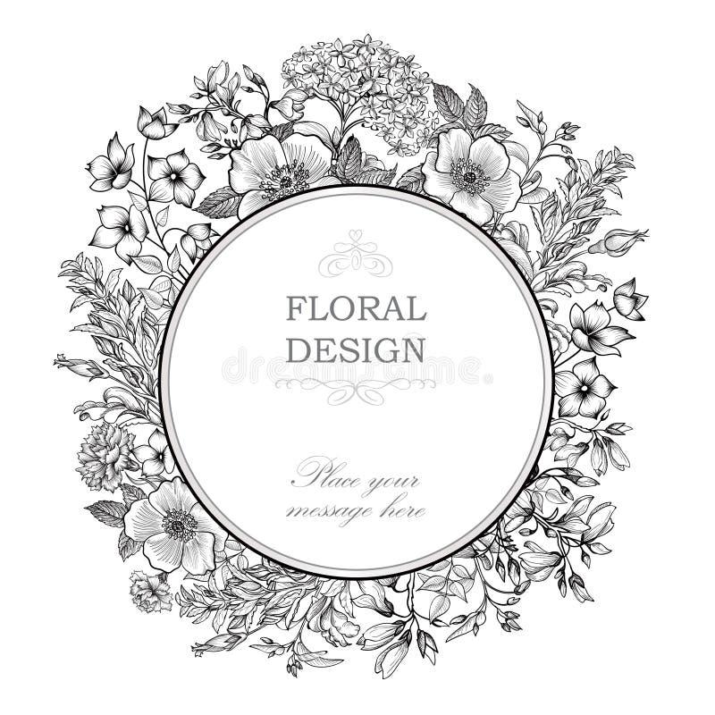 Struttura floreale con i fiori di estate Il mazzo floreale con è aumentato, narc royalty illustrazione gratis