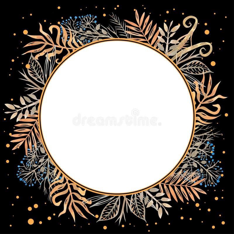 Struttura floreale con le bacche ed i rami dell'oro con le foglie dorate e blu disegnate a mano in acquerello isolato sul nero illustrazione vettoriale