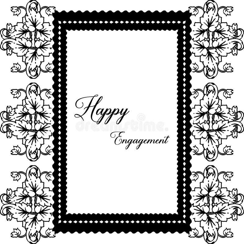 Struttura floreale decorata, impegno felice della cartolina d'auguri Vettore illustrazione di stock