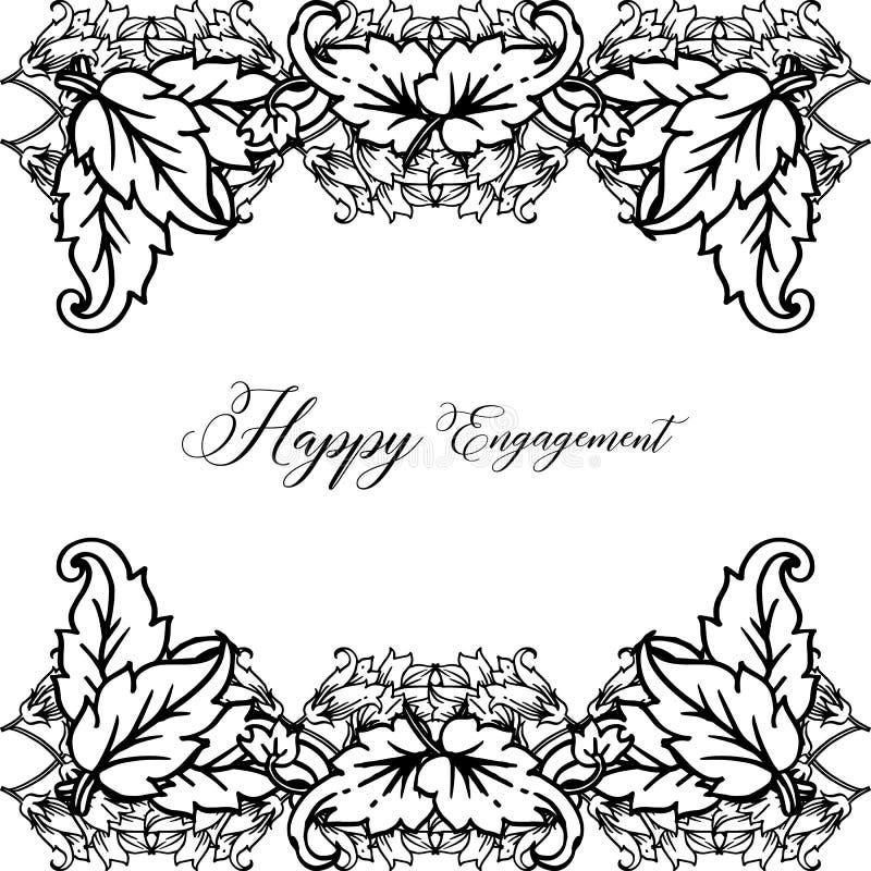 Struttura floreale decorata, impegno felice della cartolina d'auguri Vettore illustrazione vettoriale