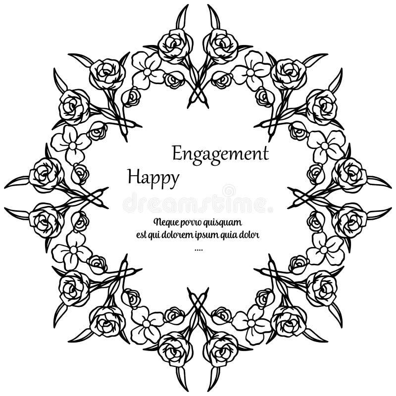 Struttura floreale decorata, impegno felice della cartolina d'auguri Vettore royalty illustrazione gratis