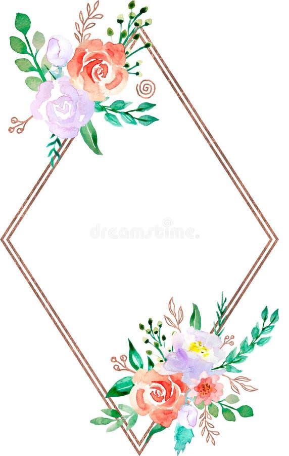 Struttura floreale dell'acquerello con il confine bronzeo dorato - illustrazione del fiore per nozze, anniversario, compleanno, i illustrazione vettoriale
