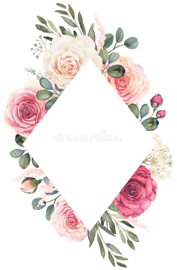 Struttura floreale dell'acquerello con le rose e l'eucalyptus royalty illustrazione gratis
