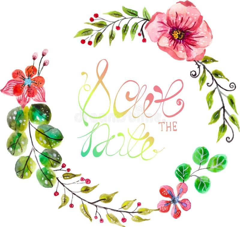 Struttura floreale dell'acquerello per progettazione dell'invito di nozze royalty illustrazione gratis