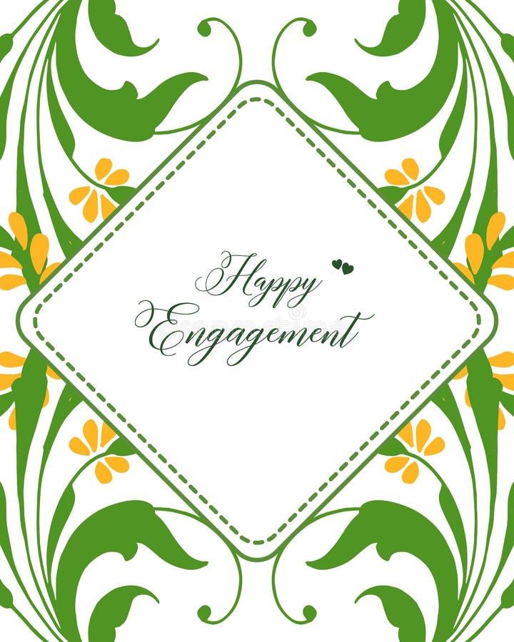 Struttura floreale della foglia di verde dell'illustrazione di vettore per la celebrazione dell'impegno felice illustrazione di stock