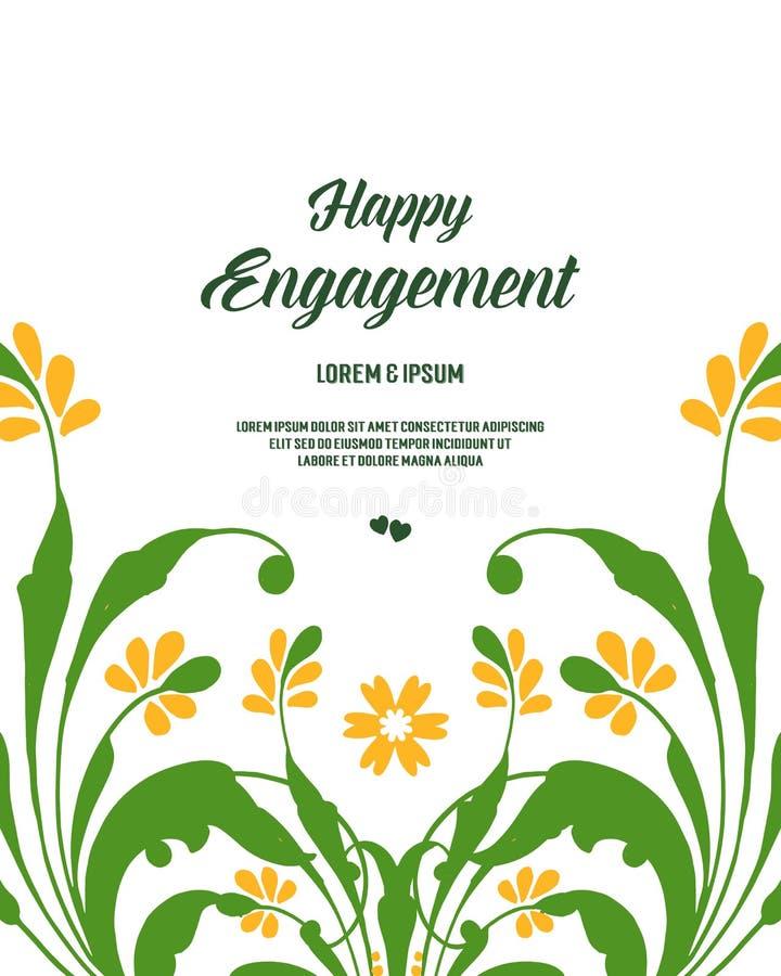 Struttura floreale della foglia di verde dell'illustrazione di vettore per la celebrazione dell'impegno felice royalty illustrazione gratis