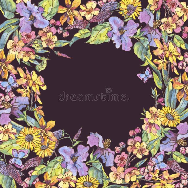 Struttura floreale della molla dell'acquerello, decorazione naturale d'annata con illustrazione vettoriale