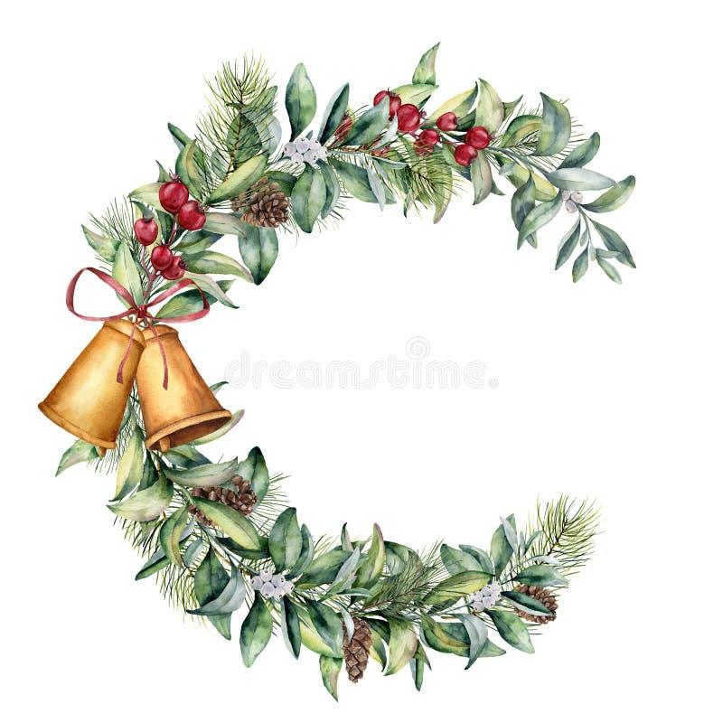 Struttura floreale di Natale dell'acquerello Il ramo floreale dipinto a mano con le bacche e l'abete si ramificano, pigna, campan royalty illustrazione gratis