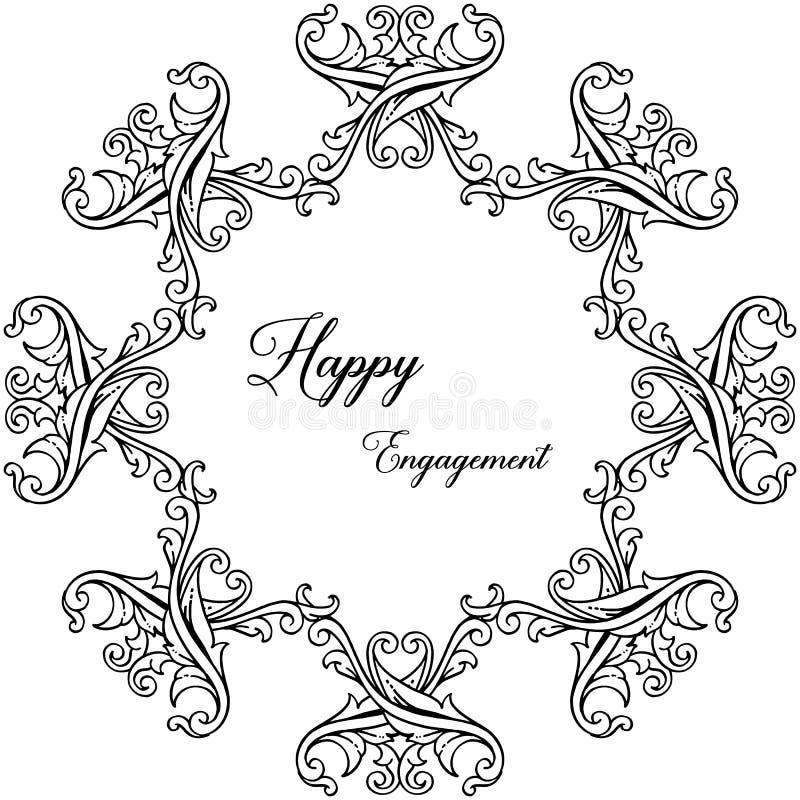 Struttura floreale di progettazione, bello fiore e foglia, per l'impegno felice della carta Vettore illustrazione vettoriale
