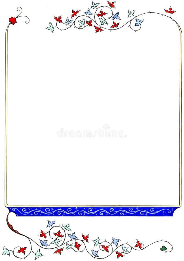 Struttura floreale disegnata a mano medievale isolata su fondo bianco Confine medievale della pagina del libro con spazio nel cen illustrazione di stock