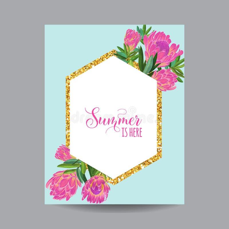 Struttura floreale dorata di fioritura di estate e della primavera illustrazione di stock