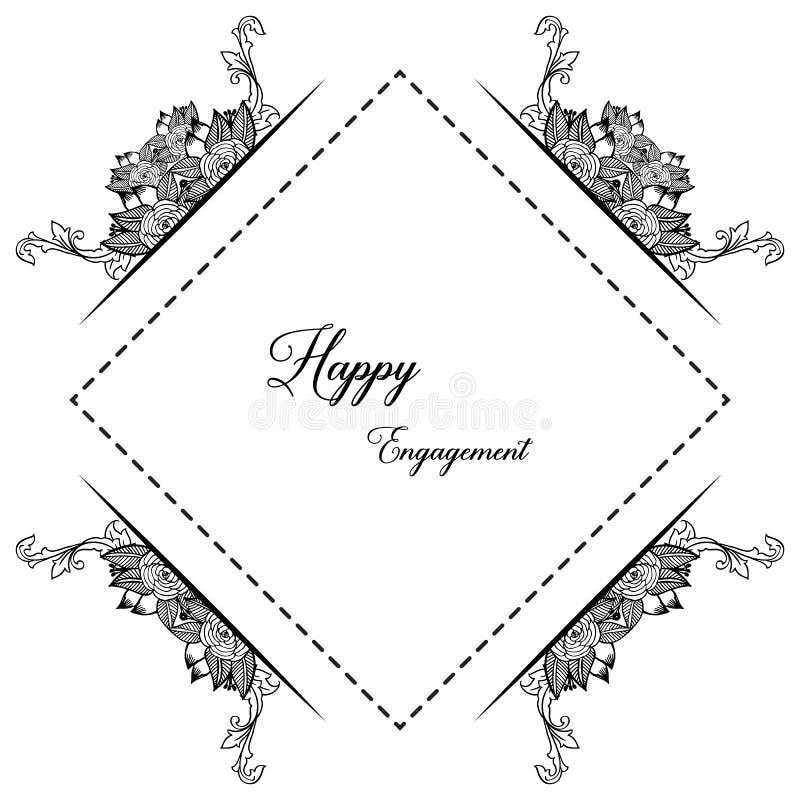 Struttura floreale elegante di stile, invito, impegno felice della cartolina d'auguri Vettore royalty illustrazione gratis
