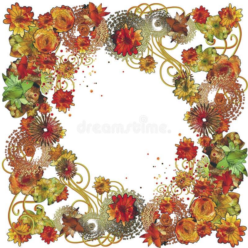 Struttura floreale nello stile della pittura con i fiori variopinti illustrazione di stock