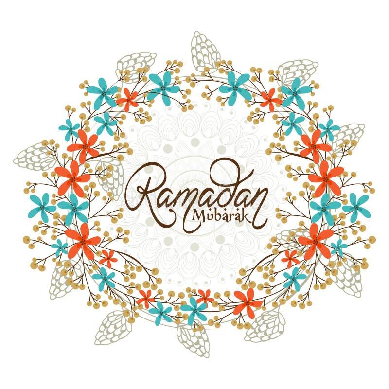 Struttura floreale per il mese santo, celebrazione di Ramadan Kareem illustrazione di stock