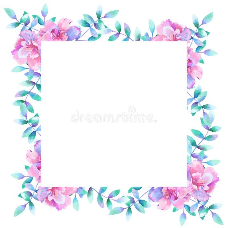 Struttura floreale rettangolare dell'acquerello Mascherina per il disegno Perfezioni per gli inviti di nozze, cartoline d'auguri, illustrazione vettoriale